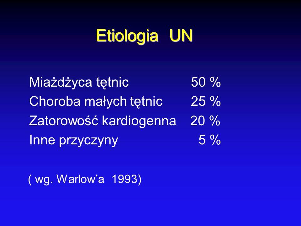 Etiologia UN Miażdżyca tętnic 50 % Choroba małych tętnic 25 % Zatorowość kardiogenna 20 % Inne przyczyny 5 % ( wg. Warlowa 1993)