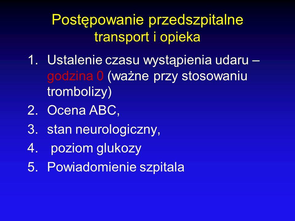 Postępowanie przedszpitalne transport i opieka 1.Ustalenie czasu wystąpienia udaru – godzina 0 (ważne przy stosowaniu trombolizy) 2.Ocena ABC, 3.stan
