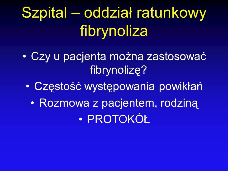 Szpital – oddział ratunkowy fibrynoliza Czy u pacjenta można zastosować fibrynolizę? Częstość występowania powikłań Rozmowa z pacjentem, rodziną PROTO