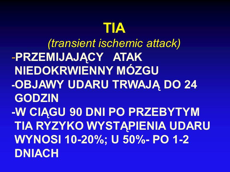 TIA (transient ischemic attack) -PRZEMIJAJĄCY ATAK NIEDOKRWIENNY MÓZGU - OBJAWY UDARU TRWAJĄ DO 24 GODZIN -W CIĄGU 90 DNI PO PRZEBYTYM TIA RYZYKO WYST