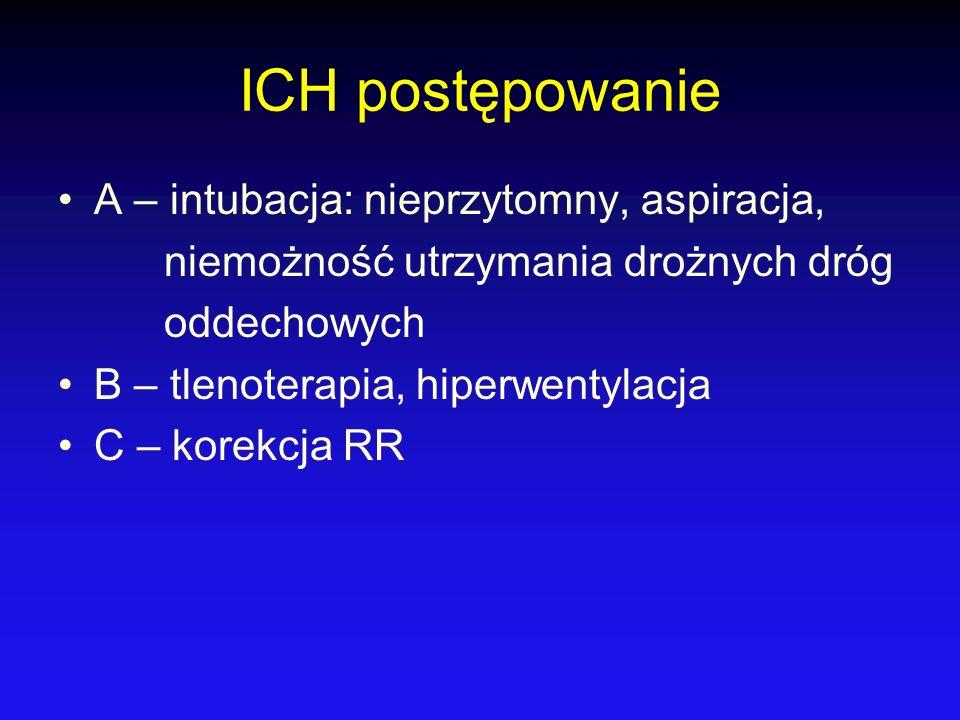 ICH postępowanie A – intubacja: nieprzytomny, aspiracja, niemożność utrzymania drożnych dróg oddechowych B – tlenoterapia, hiperwentylacja C – korekcj