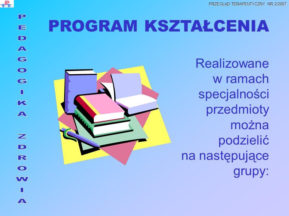 Realizowane w ramach specjalności przedmioty można podzielić na następujące grupy: PROGRAM KSZTAŁCENIA PRZEGLĄD TERAPEUTYCZNY NR 2/2007