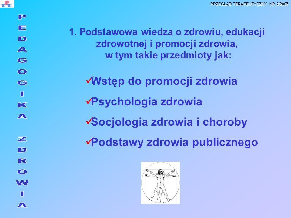 1. Podstawowa wiedza o zdrowiu, edukacji zdrowotnej i promocji zdrowia, w tym takie przedmioty jak: Wstęp do promocji zdrowia Psychologia zdrowia Socj