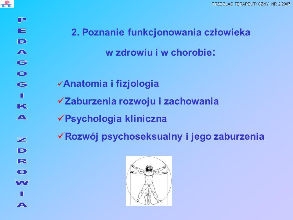 2. Poznanie funkcjonowania człowieka w zdrowiu i w chorobie : Anatomia i fizjologia Zaburzenia rozwoju i zachowania Psychologia kliniczna Rozwój psych