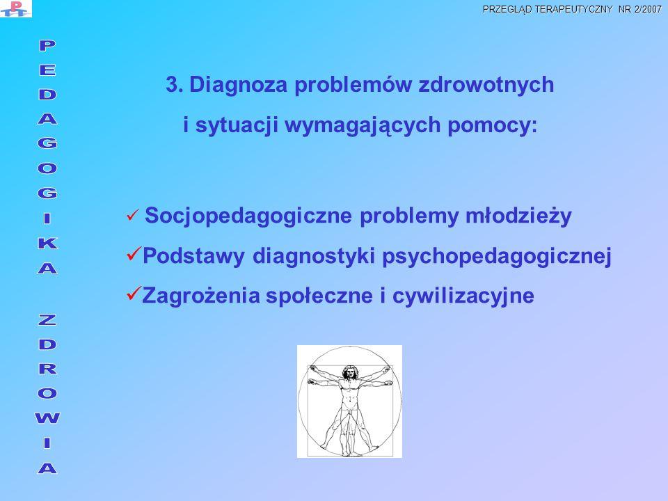 3. Diagnoza problemów zdrowotnych i sytuacji wymagających pomocy: Socjopedagogiczne problemy młodzieży Podstawy diagnostyki psychopedagogicznej Zagroż