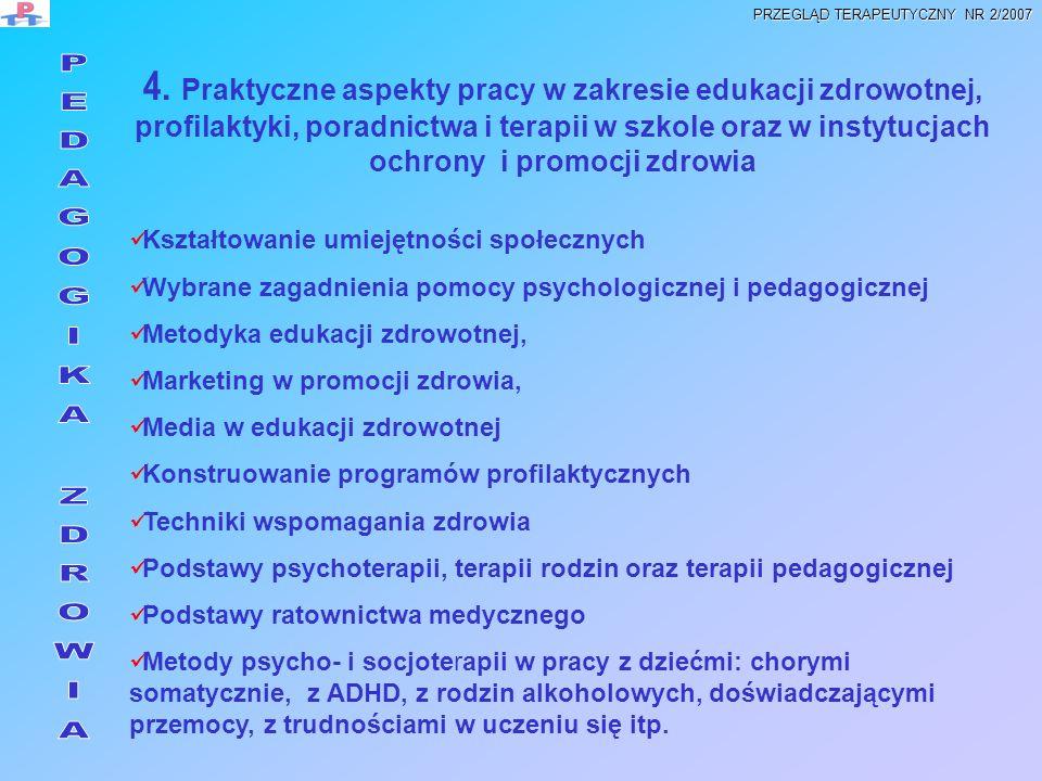 4. Praktyczne aspekty pracy w zakresie edukacji zdrowotnej, profilaktyki, poradnictwa i terapii w szkole oraz w instytucjach ochrony i promocji zdrowi