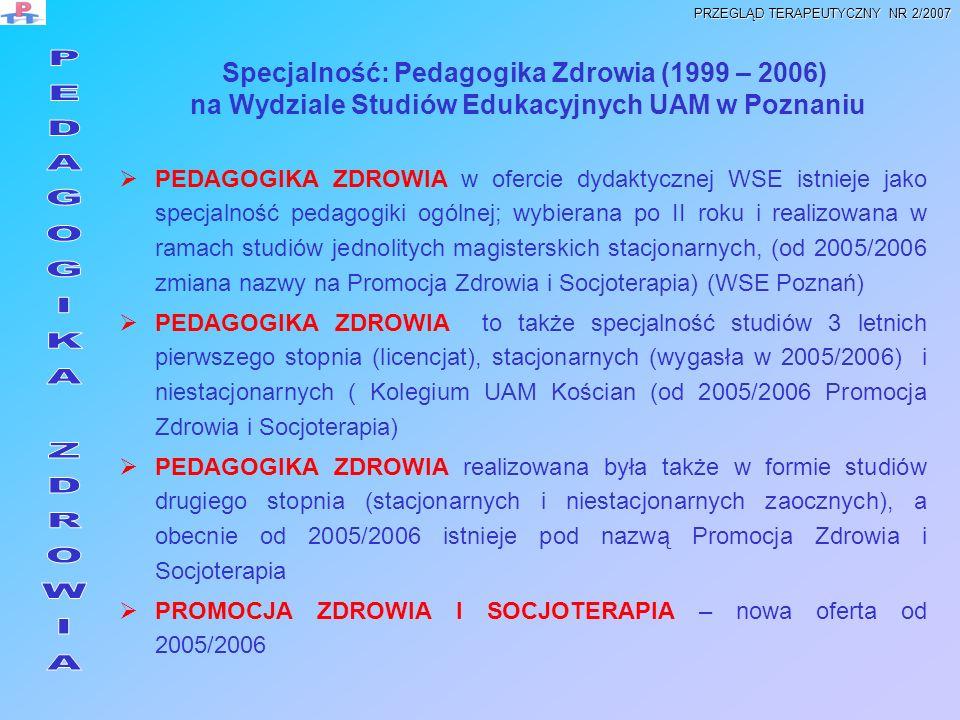 Diagnozowanie wiedzy, zachowań i potrzeb zdrowotnych różnych grup społecznych Działania edukacyjne w zakresie profilaktyki najczęstszych zaburzeń i chorób oraz promocji zdrowia Planowanie i realizacja programów profilaktycznych, wychowawczych, edukacji zdrowotnej i promocji zdrowia w różnych placówkach oświatowych i ochrony zdrowia Opracowywanie i realizacja autorskich programów i scenariuszy zajęć wychowawczych, profilaktycznych i socjoterapeutycznych w placówkach oświatowych oraz ochrony i promocji zdrowia Ewaluacja procesów i wyników programów profilaktycznych, wychowawczych i edukacji zdrowotnej OCZEKIWANE KOMPETENCJE ABSOLWENTA PEDAGOGIKI ZDROWIA PRZEGLĄD TERAPEUTYCZNY NR 2/2007