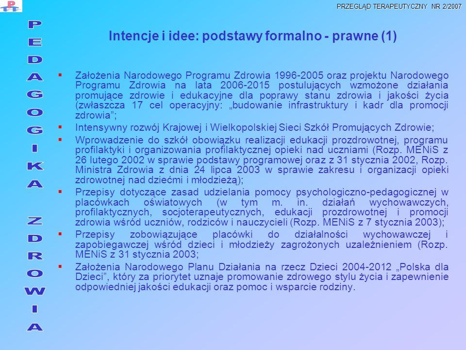 Intencje i idee: podstawy formalno - prawne (1) Założenia Narodowego Programu Zdrowia 1996-2005 oraz projektu Narodowego Programu Zdrowia na lata 2006