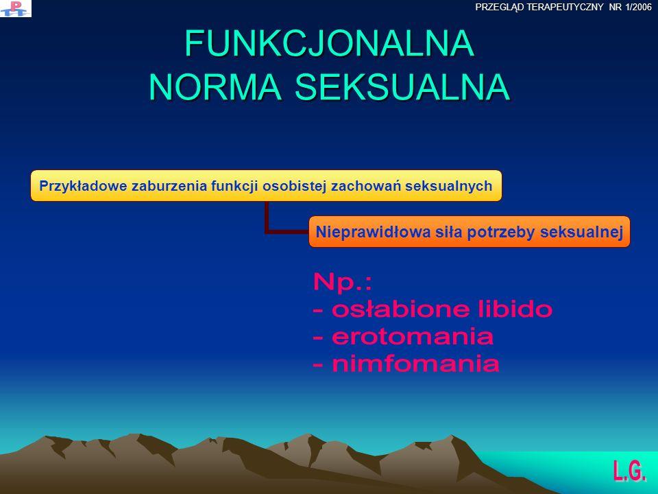 FUNKCJONALNA NORMA SEKSUALNA Przykładowe zaburzenia funkcji osobistej zachowań seksualnych Nieprawidłowa siła potrzeby seksualnej PRZEGLĄD TERAPEUTYCZNY NR 1/2006