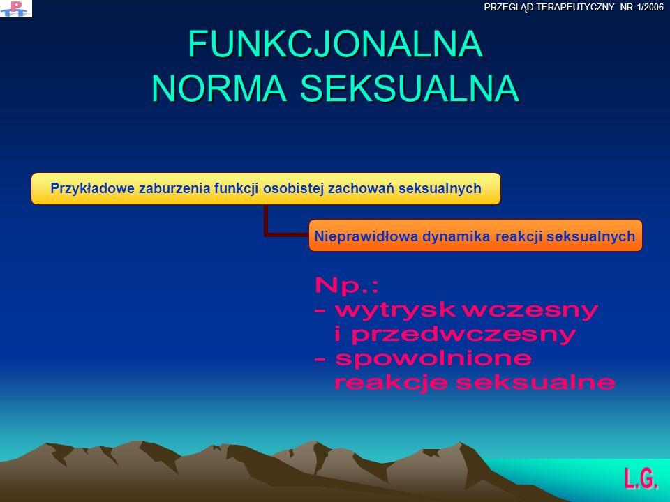 FUNKCJONALNA NORMA SEKSUALNA Przykładowe zaburzenia funkcji osobistej zachowań seksualnych Nieprawidłowa dynamika reakcji seksualnych PRZEGLĄD TERAPEUTYCZNY NR 1/2006