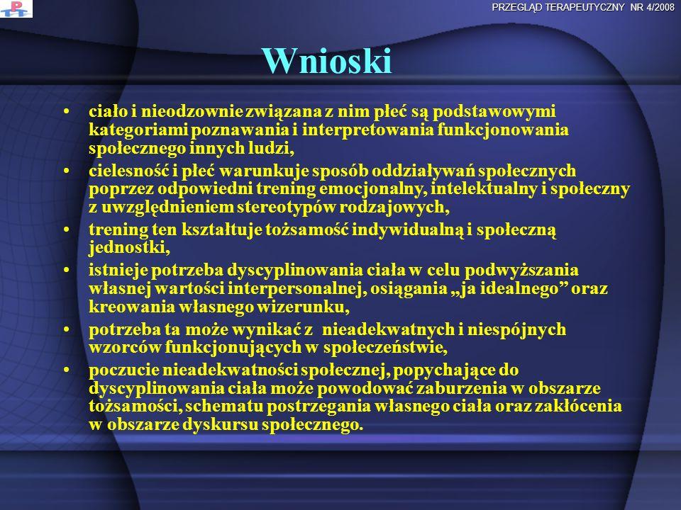 Wnioski PRZEGLĄD TERAPEUTYCZNY NR 4/2008 ciało i nieodzownie związana z nim płeć są podstawowymi kategoriami poznawania i interpretowania funkcjonowan