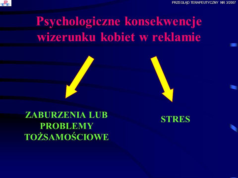 Psychologiczne konsekwencje wizerunku kobiet w reklamie ZABURZENIA LUB PROBLEMY TOŻSAMOŚCIOWE STRES PRZEGLĄD TERAPEUTYCZNY NR 3/2007