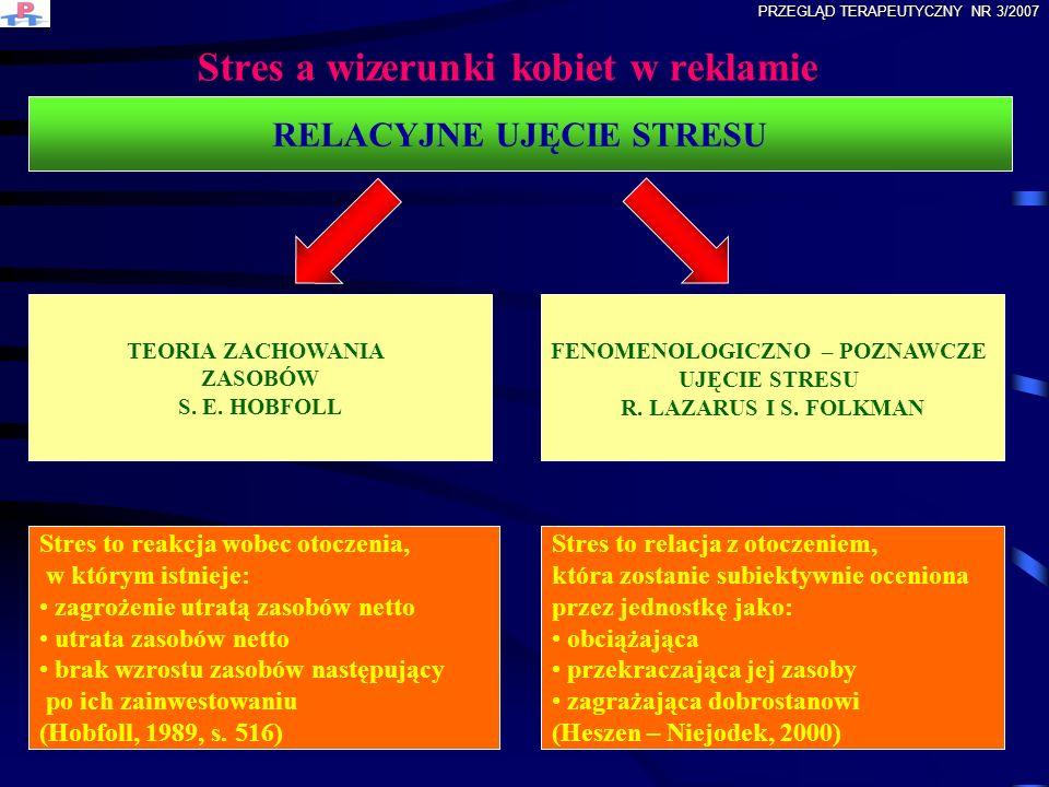 Stres a wizerunki kobiet w reklamie RELACYJNE UJĘCIE STRESU TEORIA ZACHOWANIA ZASOBÓW S. E. HOBFOLL FENOMENOLOGICZNO – POZNAWCZE UJĘCIE STRESU R. LAZA