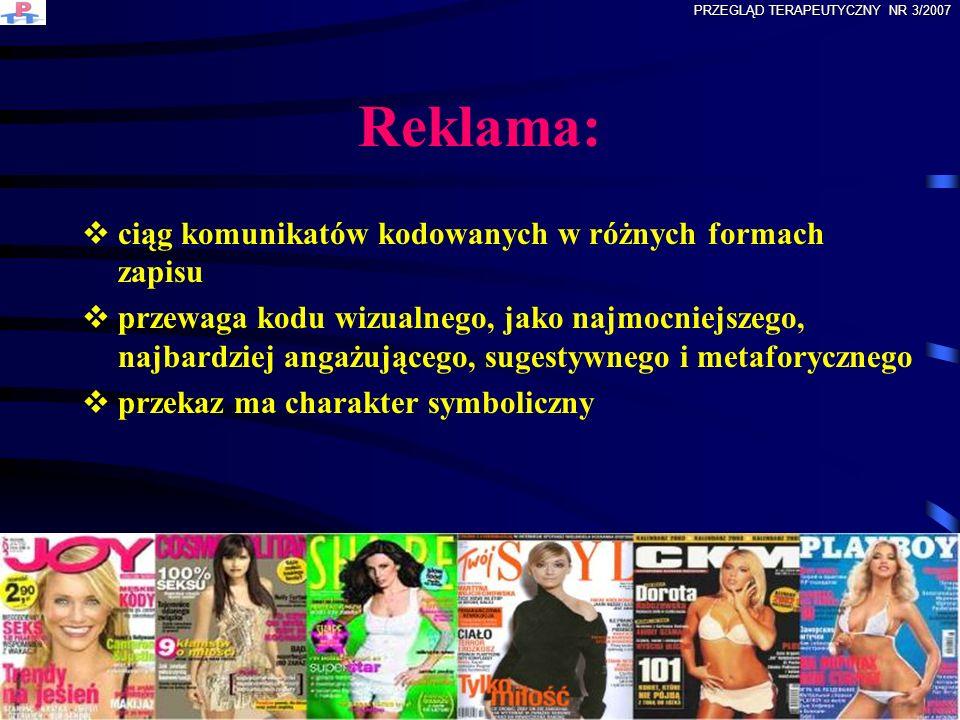 Trzy funkcje reklamy RÓŻNICUJĄCA wyodrębnienie produktu spośród innych INFORMACYJNA niezbędne informacje o produkcie PERSWAZYJNA przekonywanie do nabycia produktu PRZEGLĄD TERAPEUTYCZNY NR 3/2007