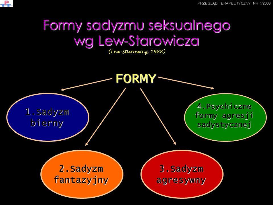 Formy sadyzmu seksualnego wg Lew-Starowicza Formy sadyzmu seksualnego wg Lew-Starowicza (Lew-Starowicz, 1988) 1.Sadyzm bierny 2.Sadyzm fantazyjny 3.Sa
