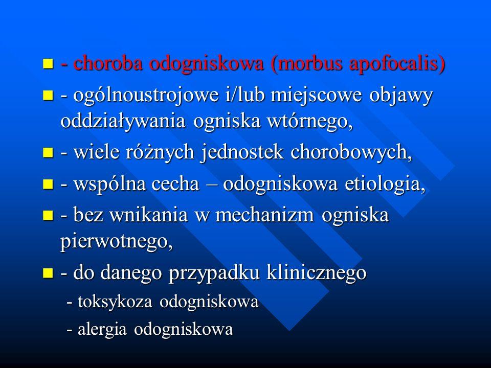- choroba odogniskowa (morbus apofocalis) - choroba odogniskowa (morbus apofocalis) - ogólnoustrojowe i/lub miejscowe objawy oddziaływania ogniska wtó