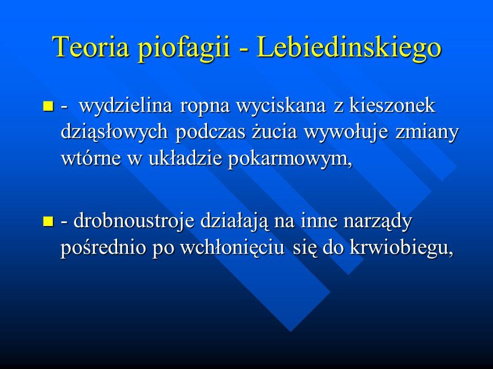 Teoria piofagii - Lebiedinskiego - wydzielina ropna wyciskana z kieszonek dziąsłowych podczas żucia wywołuje zmiany wtórne w układzie pokarmowym, - wy