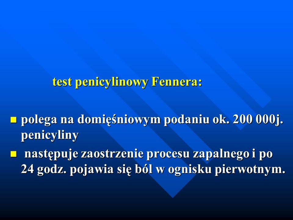 test penicylinowy Fennera: test penicylinowy Fennera: polega na domięśniowym podaniu ok. 200 000j. penicyliny polega na domięśniowym podaniu ok. 200 0