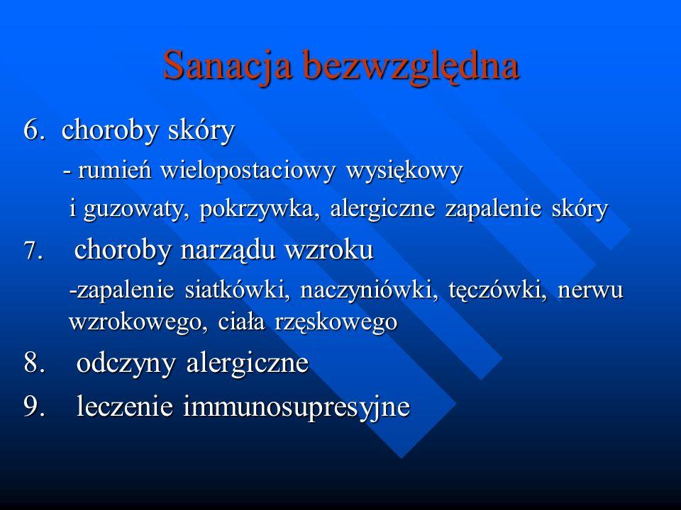 Sanacja bezwzględna 6. choroby skóry - rumień wielopostaciowy wysiękowy - rumień wielopostaciowy wysiękowy i guzowaty, pokrzywka, alergiczne zapalenie