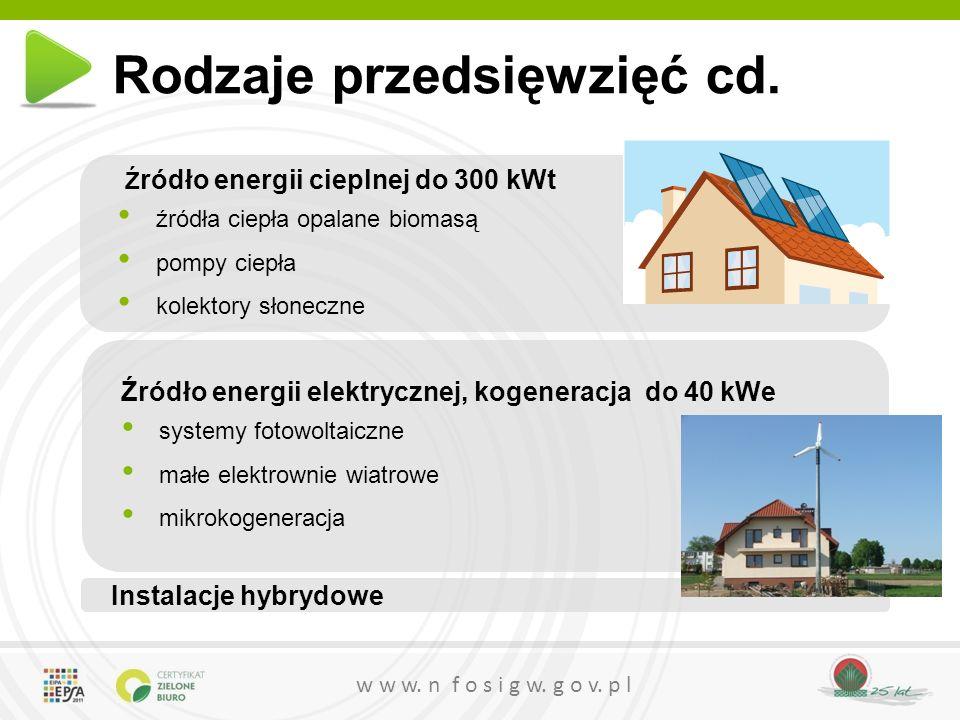 w w w. n f o s i g w. g o v. p l Rodzaje przedsięwzięć cd. Ź ródło energii cieplnej do 300 kWt źródła ciepła opalane biomasą pompy ciepła kolektory sł