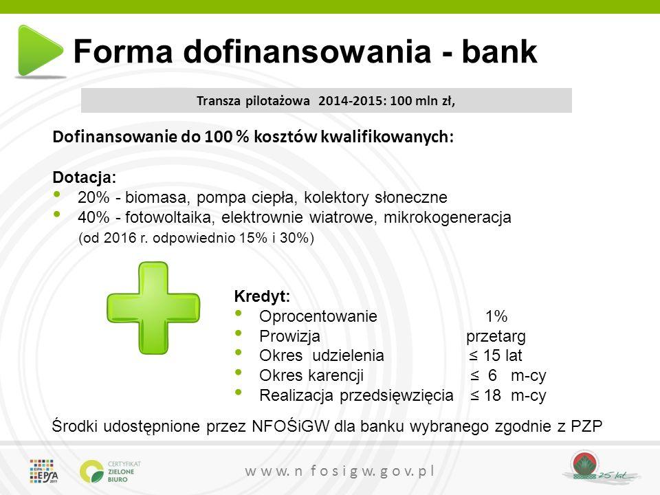 w w w. n f o s i g w. g o v. p l Transza pilotażowa 2014-2015: 100 mln zł, Dofinansowanie do 100 % kosztów kwalifikowanych: Dotacja: 20% - biomasa, po