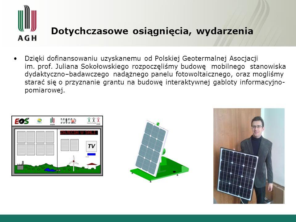 Dotychczasowe osiągnięcia, wydarzenia Pozytywne rozpatrzenie wniosku o Grant Rektorski 2013, w wyniku którego projekt KN Energon Interaktywna gablota informacyjno-pomiarowa.
