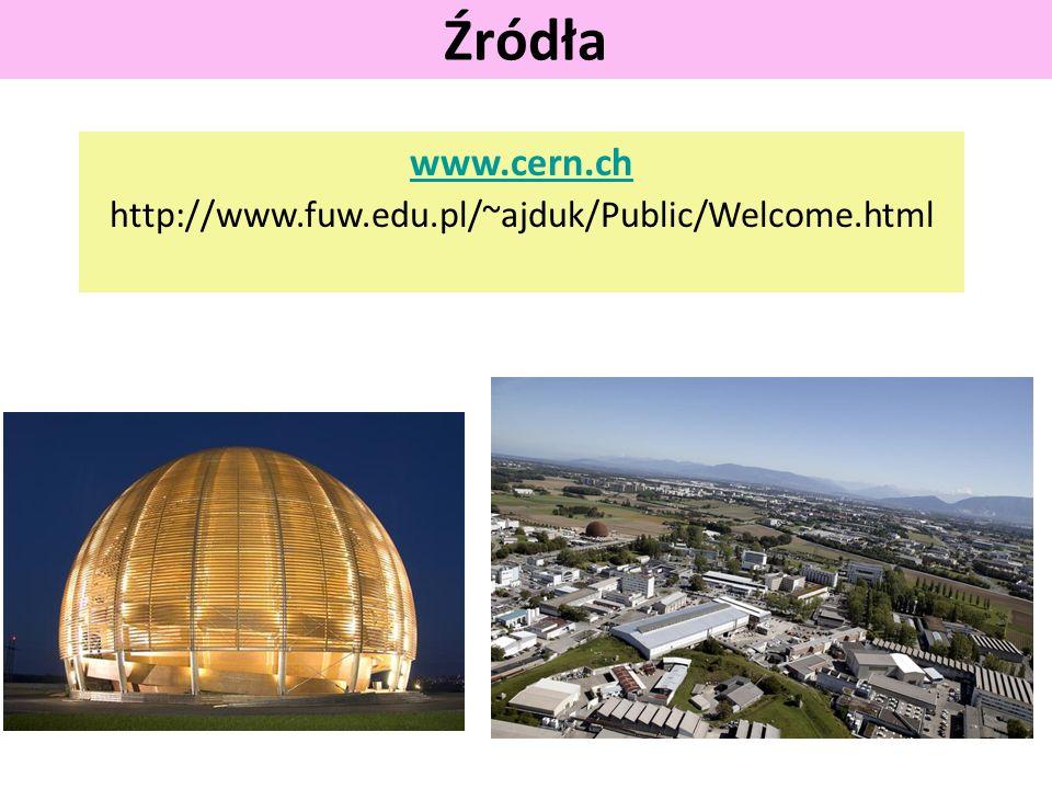 www.cern.ch http://www.fuw.edu.pl/~ajduk/Public/Welcome.html Źródła