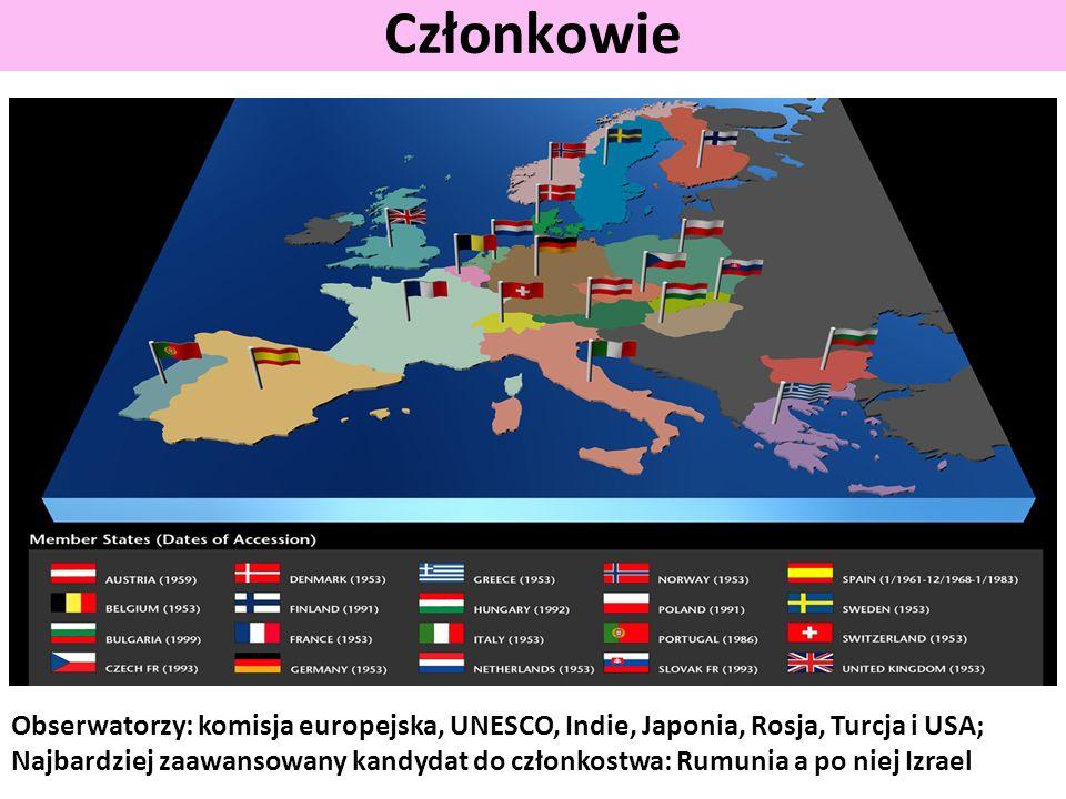 Członkowie Obserwatorzy: komisja europejska, UNESCO, Indie, Japonia, Rosja, Turcja i USA; Najbardziej zaawansowany kandydat do członkostwa: Rumunia a