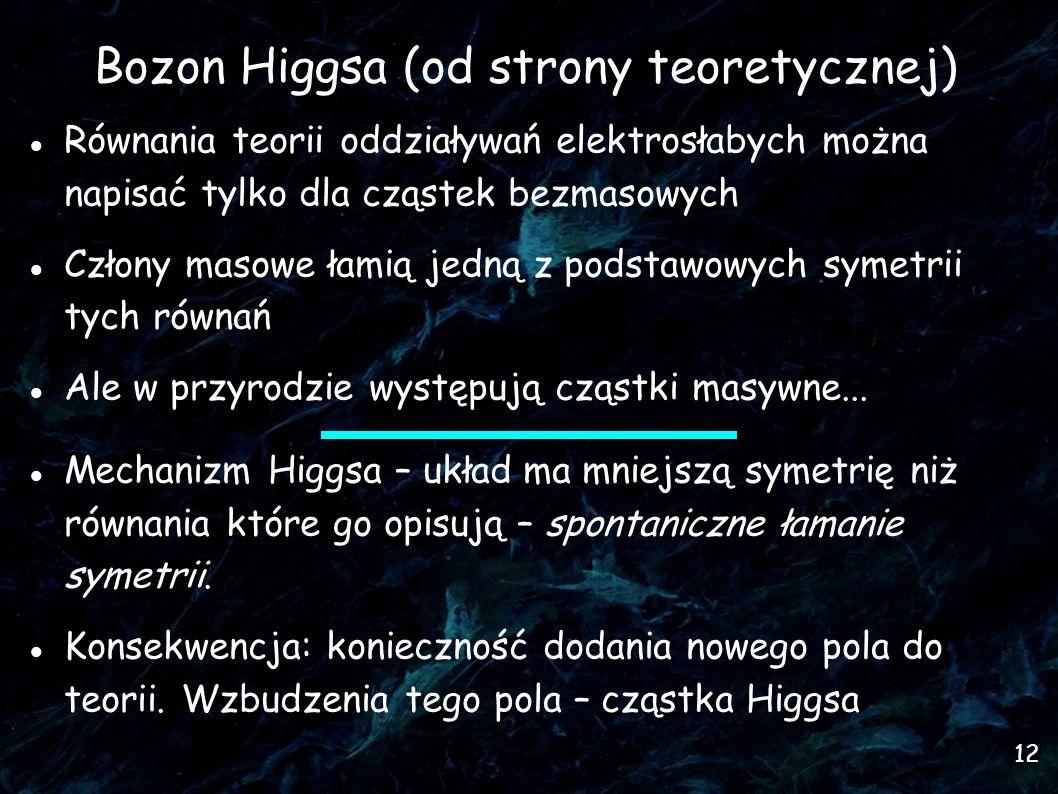 12 Bozon Higgsa (od strony teoretycznej) Równania teorii oddziaływań elektrosłabych można napisać tylko dla cząstek bezmasowych Człony masowe łamią jedną z podstawowych symetrii tych równań Ale w przyrodzie występują cząstki masywne...