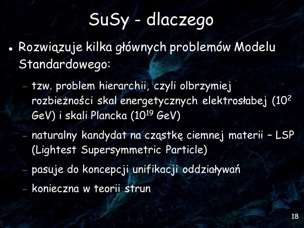 18 SuSy - dlaczego Rozwiązuje kilka głównych problemów Modelu Standardowego: tzw.