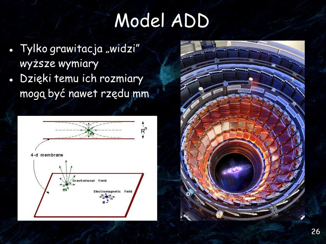 26 Model ADD Tylko grawitacja widzi wyższe wymiary Dzięki temu ich rozmiary mogą być nawet rzędu mm