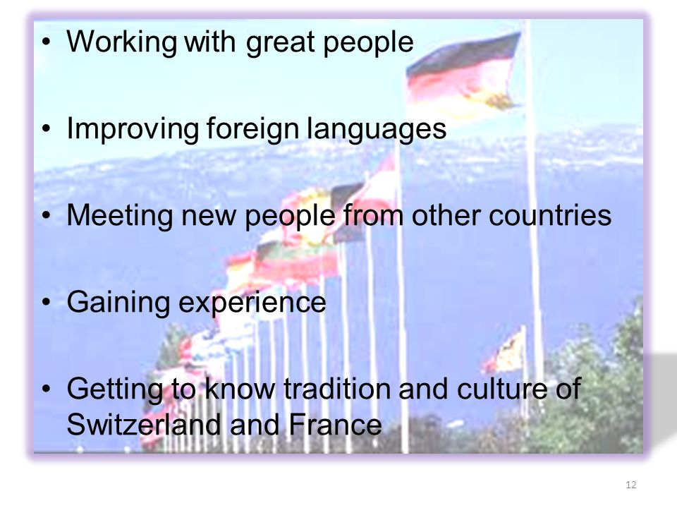 Working with great people Improving foreign languages Meeting new people from other countries Gaining experience Getting to know tradition and culture