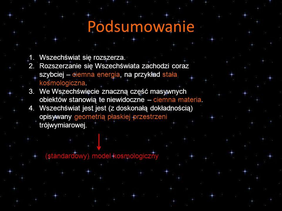 Podsumowanie 1.Wszechświat się rozszerza. 2.Rozszerzanie się Wszechświata zachodzi coraz szybciej – ciemna energia, na przykład stała kosmologiczna. 3