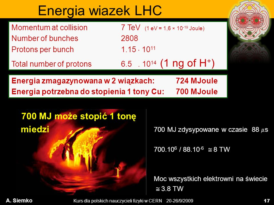 Kurs dla polskich nauczycieli fizyki w CERN 20-26/9/2009 Momentum at collision 7 TeV (1 eV = 1,6 × 10 -19 Joule) Number of bunches 2808 Protons per bu