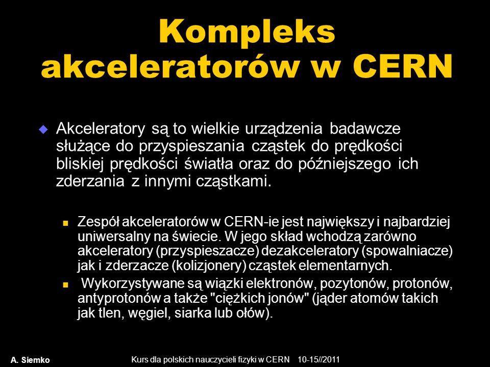 Kurs dla polskich nauczycieli fizyki w CERN 10-15//2011 A. Siemko Kompleks akceleratorów w CERN Akceleratory są to wielkie urządzenia badawcze służące