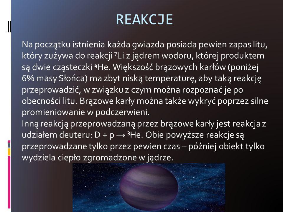 REAKCJE Na początku istnienia każda gwiazda posiada pewien zapas litu, który zużywa do reakcji 7 Li z jądrem wodoru, której produktem są dwie cząstecz