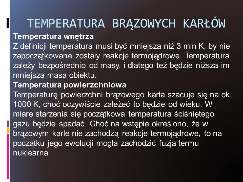 TEMPERATURA BRĄZOWYCH KARŁÓW Temperatura wnętrza Z definicji temperatura musi być mniejsza niż 3 mln K, by nie zapoczątkowane zostały reakcje termojąd
