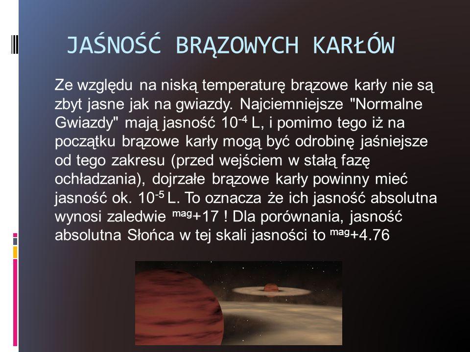 JAŚNOŚĆ BRĄZOWYCH KARŁÓW Ze względu na niską temperaturę brązowe karły nie są zbyt jasne jak na gwiazdy. Najciemniejsze