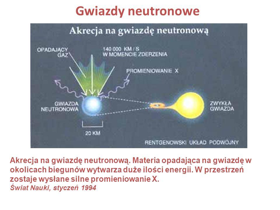 Akrecja na gwiazdę neutronową. Materia opadająca na gwiazdę w okolicach biegunów wytwarza duże ilości energii. W przestrzeń zostaje wysłane silne prom