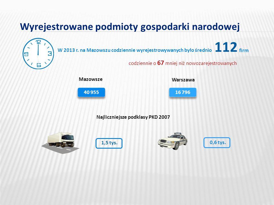 Wyrejestrowane podmioty gospodarki narodowej 112 W 2013 r.