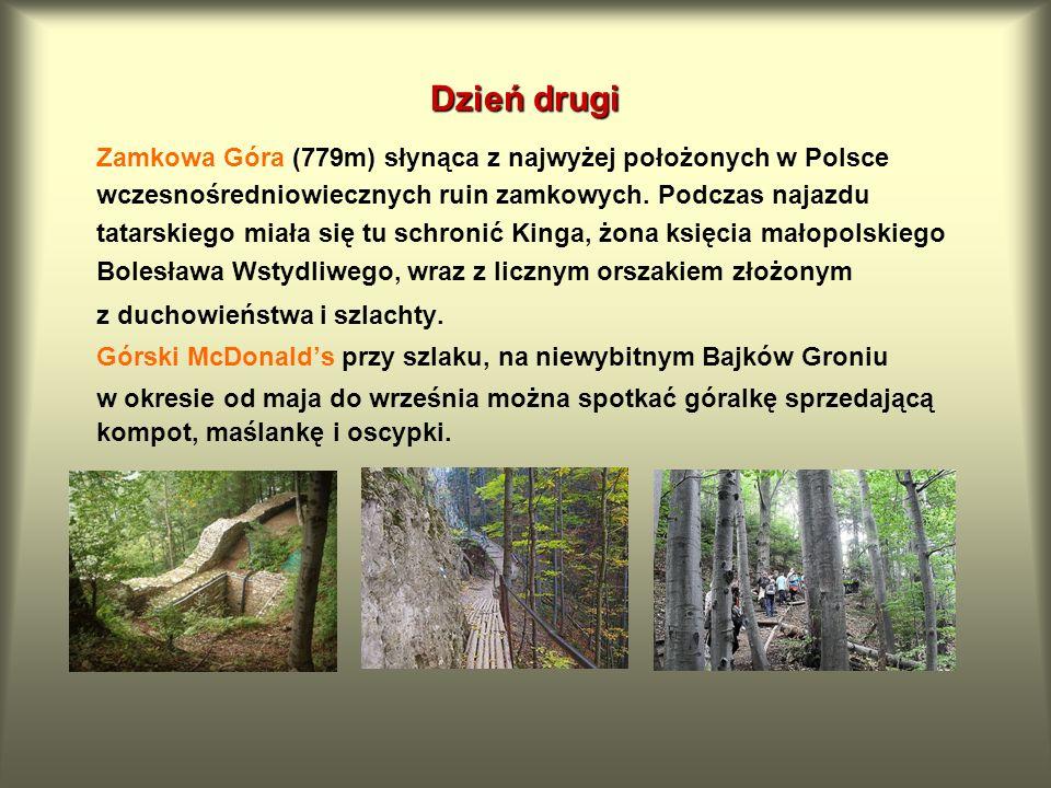 Dzień drugi Zamkowa Góra (779m) słynąca z najwyżej położonych w Polsce wczesnośredniowiecznych ruin zamkowych. Podczas najazdu tatarskiego miała się t