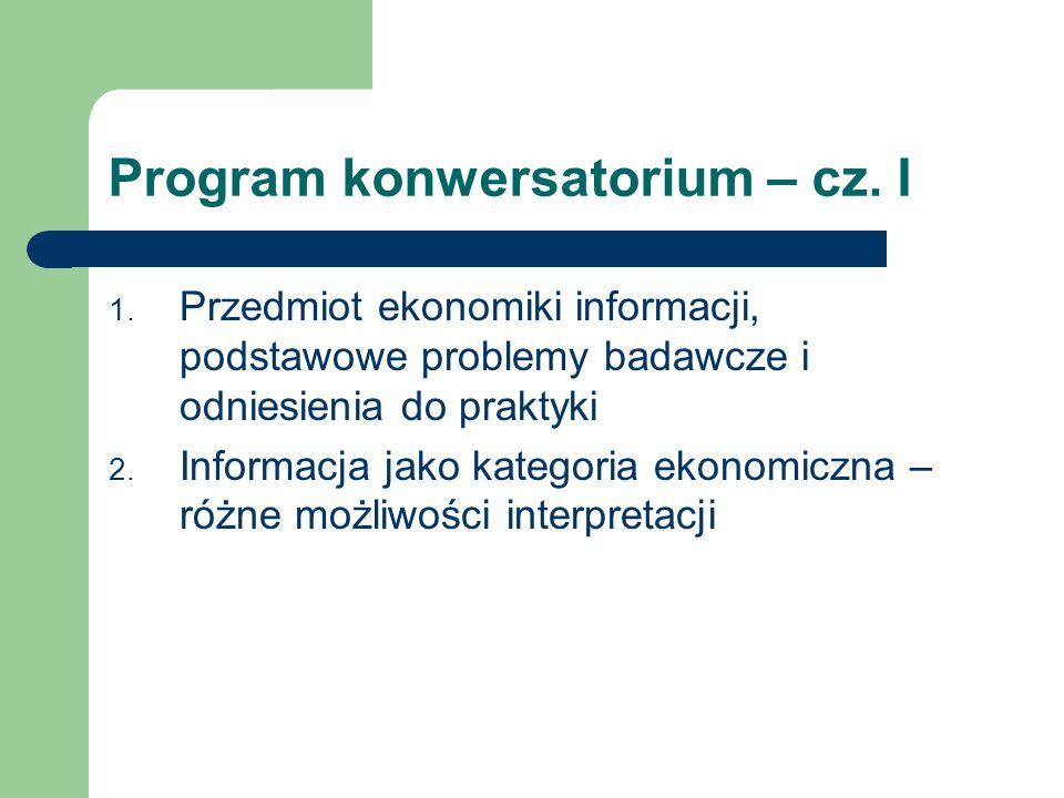 Program konwersatorium – cz.II 3. Rynek – podstawowe pojęcia i mechanizmy 4.