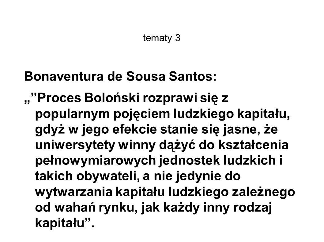 tematy 3 Bonaventura de Sousa Santos: Proces Boloński rozprawi się z popularnym pojęciem ludzkiego kapitału, gdyż w jego efekcie stanie się jasne, że uniwersytety winny dążyć do kształcenia pełnowymiarowych jednostek ludzkich i takich obywateli, a nie jedynie do wytwarzania kapitału ludzkiego zależnego od wahań rynku, jak każdy inny rodzaj kapitału.