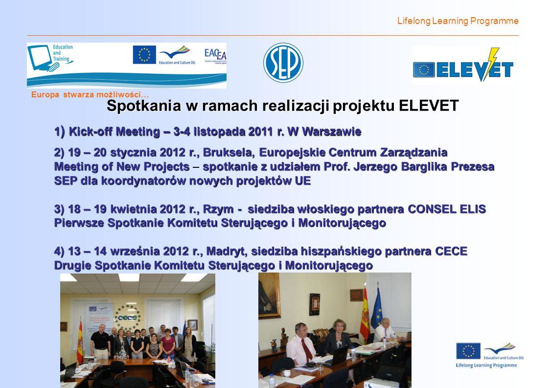 Lifelong Learning Programme Europa stwarza możliwości… Spotkania w ramach realizacji projektu ELEVET 1 ) Kick-off Meeting – 3-4 listopada 2011 r.