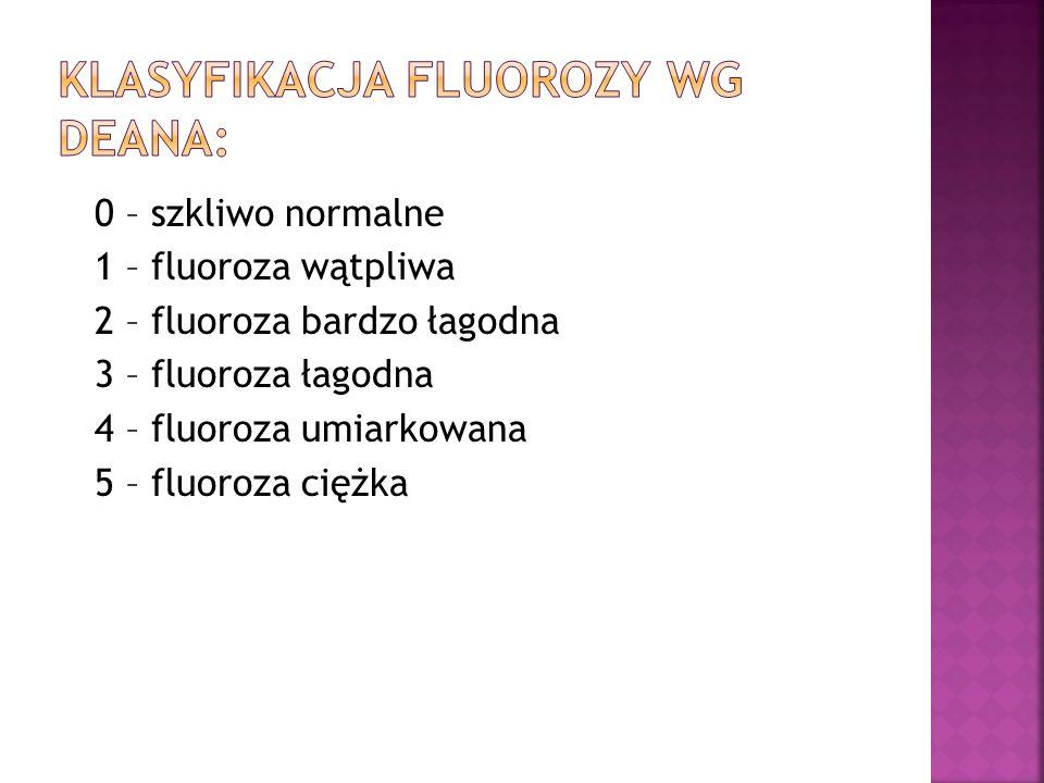 0 – szkliwo normalne 1 – fluoroza wątpliwa 2 – fluoroza bardzo łagodna 3 – fluoroza łagodna 4 – fluoroza umiarkowana 5 – fluoroza ciężka