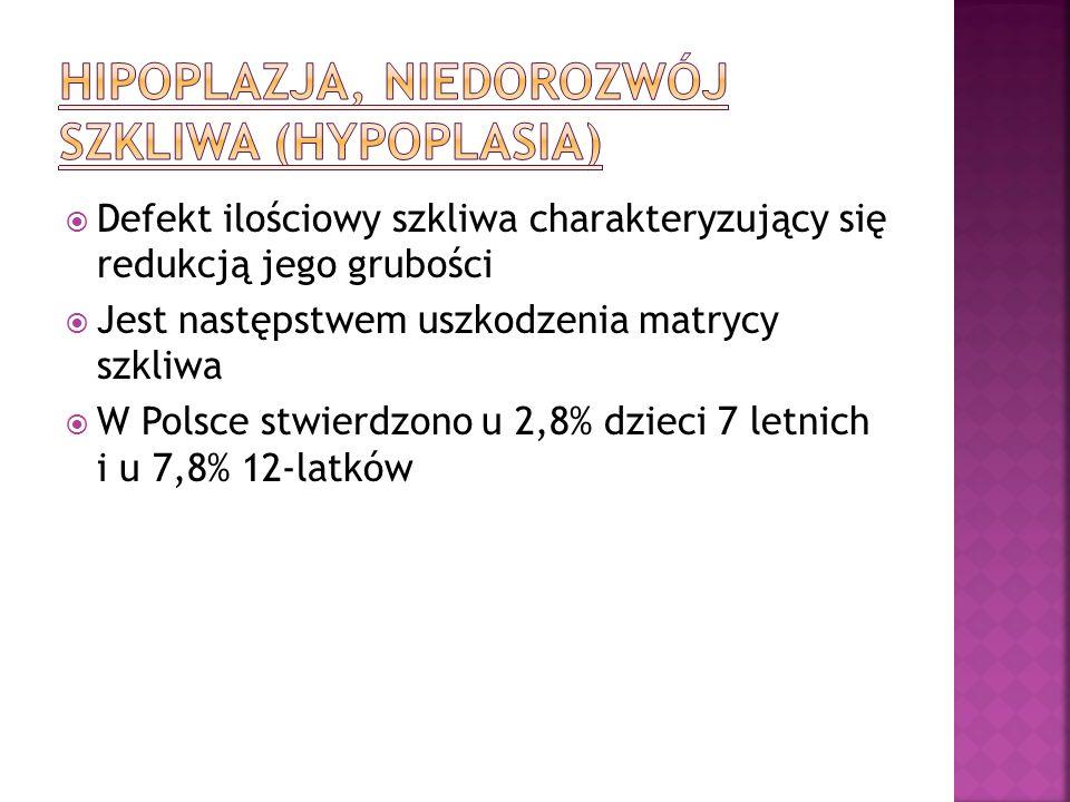 Defekt ilościowy szkliwa charakteryzujący się redukcją jego grubości Jest następstwem uszkodzenia matrycy szkliwa W Polsce stwierdzono u 2,8% dzieci 7