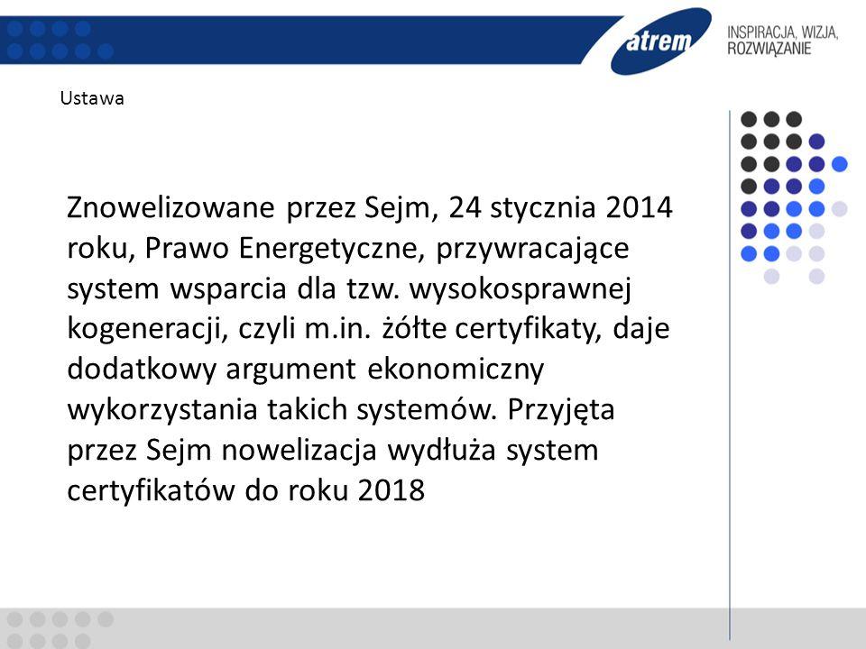 Ustawa Znowelizowane przez Sejm, 24 stycznia 2014 roku, Prawo Energetyczne, przywracające system wsparcia dla tzw. wysokosprawnej kogeneracji, czyli m