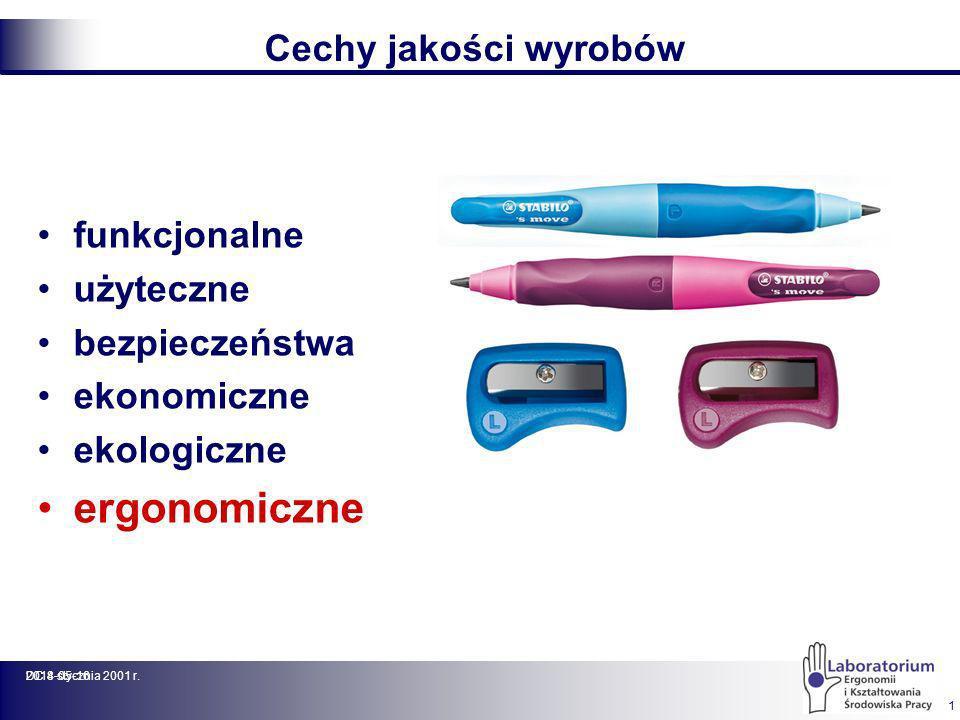2014-05-16DC 8 stycznia 2001 r. 1 Cechy jakości wyrobów funkcjonalne użyteczne bezpieczeństwa ekonomiczne ekologiczne ergonomiczne