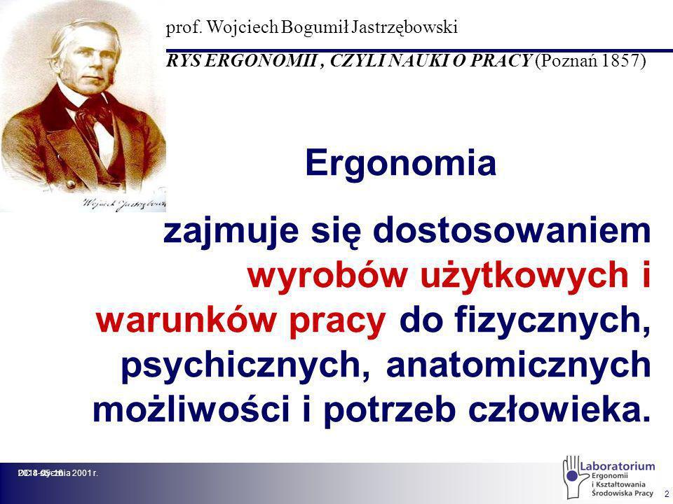 2014-05-16DC 8 stycznia 2001 r. 2 Ergonomia zajmuje się dostosowaniem wyrobów użytkowych i warunków pracy do fizycznych, psychicznych, anatomicznych m