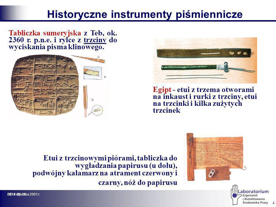 2014-05-16DC 8 stycznia 2001 r. 4 Tabliczka sumeryjska z Teb, ok. 2360 r. p.n.e. i rylce z trzciny do wyciskania pisma klinowego. Historyczne instrume